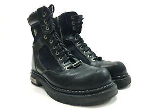Harley-Davidson-Men-039-s-Black-Leather-Boots-Zip-Up-Steel-Toe-Size-11