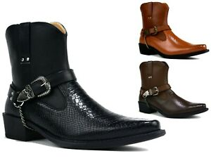 Buckle Skin Snake Sole Chain Zu Boots Smart Cowboys Rubber Cuban Heel Details Mengents qS53RjLc4A