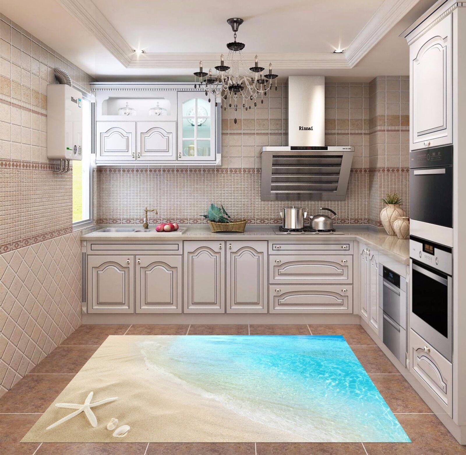 3D Blu Beach 62 Tappetino da cucina Muro pavimento Murales Muro ...