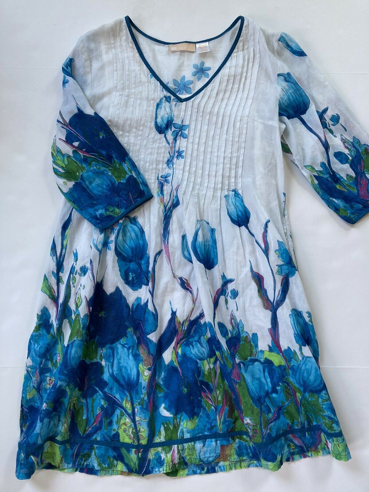 LA CERA Tulip Print Pleated Cotton Tunic Dress - image 1
