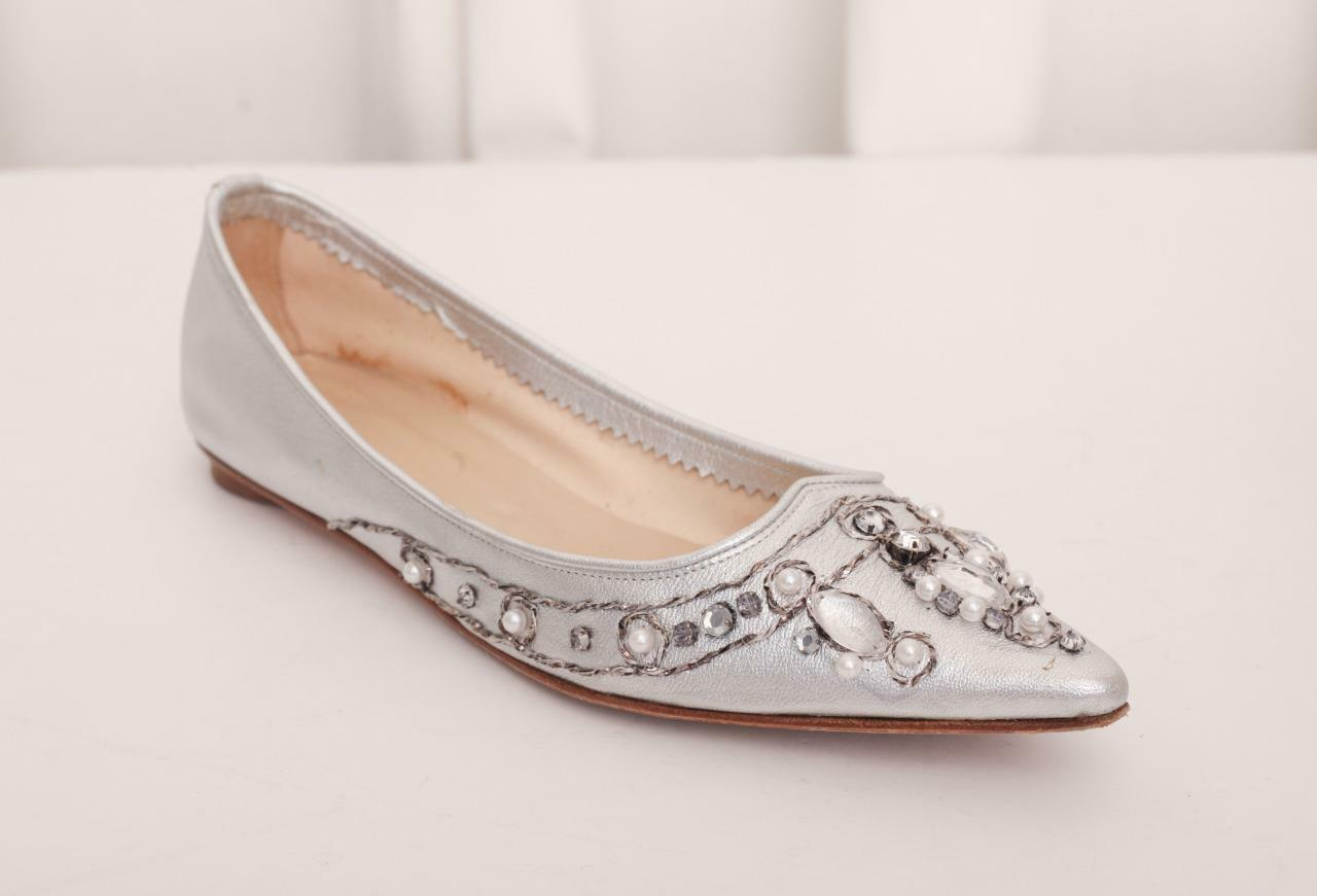 SIGERSON MORRISON  550 SIlver Leather Pearl Jewel Pointy Slip-On Ballet Flats 7