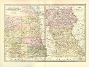 Details about 1890 ANTIQUE MAP - USA,  KANSAS,NEBRASKA,COLORADO,IOWA,MISSOURI,DAKOTA,WYOMING