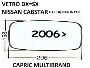 Vetro Dx Cromato per Specchietto Retrovisore Nissan Cabstar dal 10//2006/>