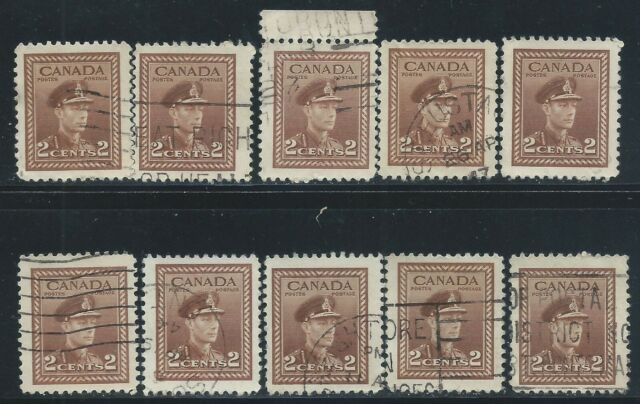 Canada #250(1) 1943 2 cent brown KING GEORGE VI 10 Used