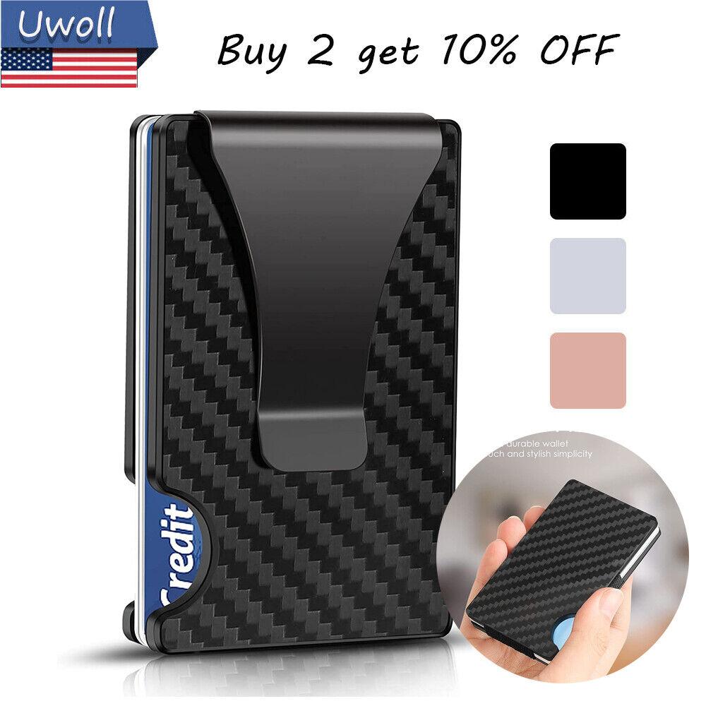 RFID Minimalist Wallet for Men Carbon Fiber Credit Card Holder Money Clip Wallet