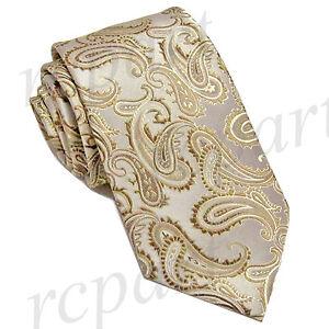 New Brand Q Men's Micro Fiber Paisley Neck Tie necktie only beige formal wedding