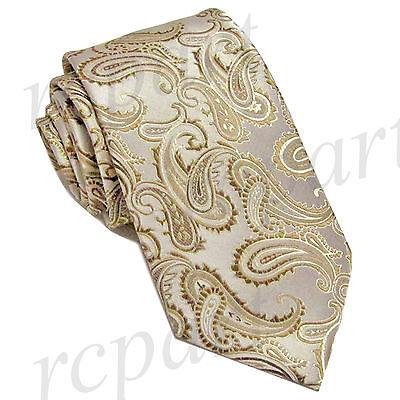 New Brand Q Men/'s Micro Fiber formal Neck Tie /& Hankie Set Paisley pink beige