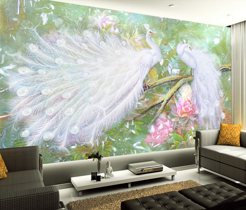 3D Zwei Weiße Pfauen 888 Tapete Wandgemälde Tapete Tapeten Bild Familie DE Lemon