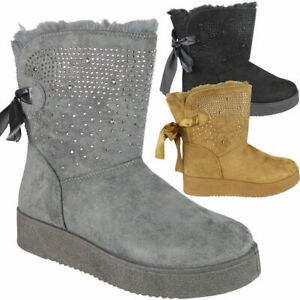 Ladies Womens Mid Calf Winter Warm Diamante Fur Lined Casual Fashion Boots Shoes