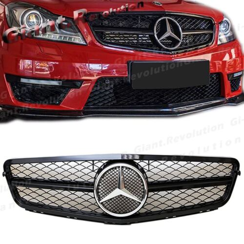For 2012-2014 BENZ W204 Sedan 4DR C300 C350 Gloss Black C Type Front Vent Grille