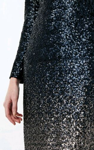 Black Bnwt Uk Sequins Heidi Ombre Midi Monsoon Dress 12 wTPB8Z