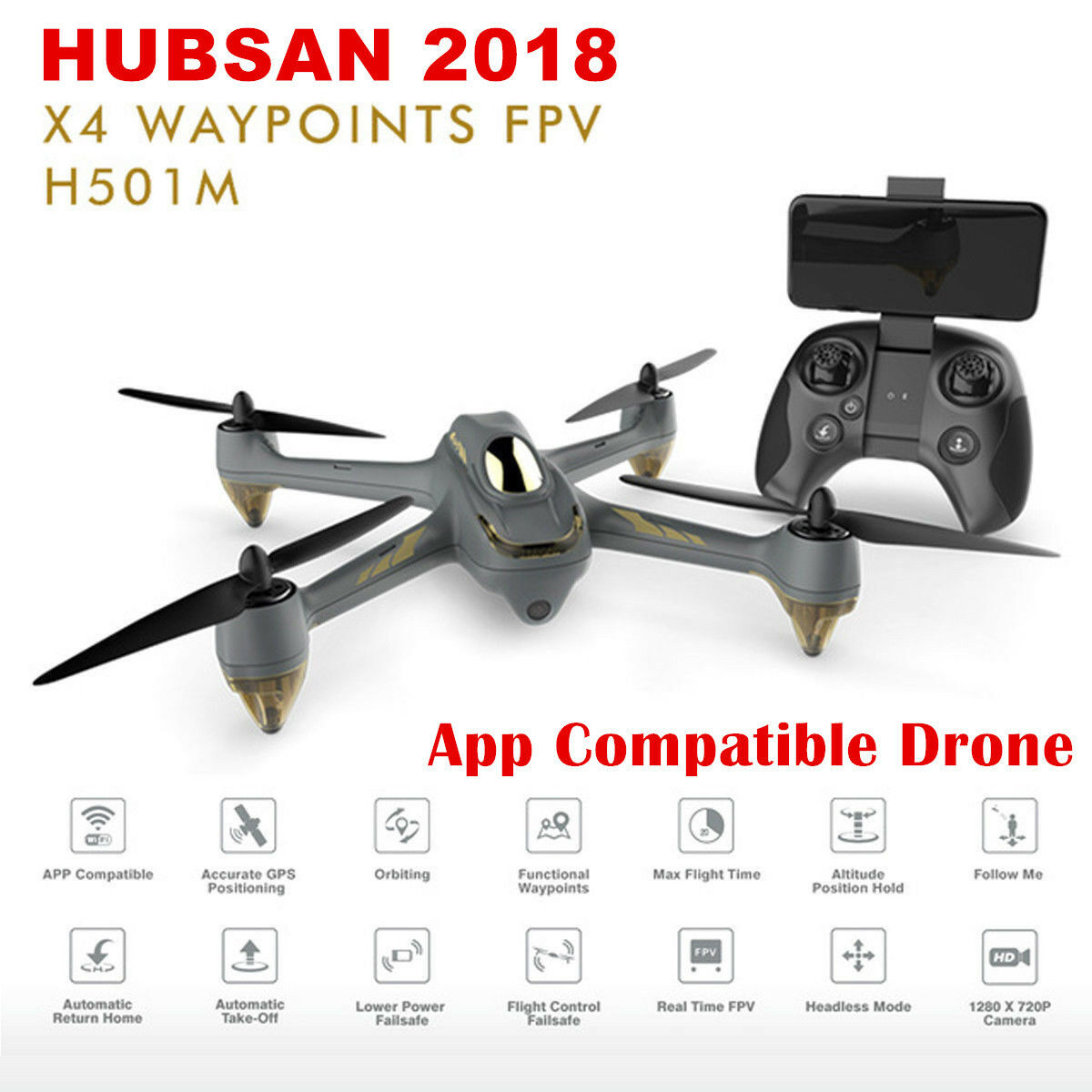 Hubsan H501M X4 FPV DRONE sin escobillas Cámara De Control Remoto 720P Gps Wi-Fi App listo para volar
