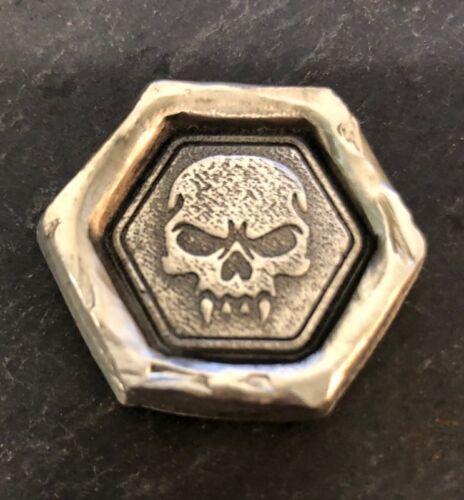"""2 Troy Oz  MK BARZ /""""Fang Skull""""  .999 Fine Silver"""
