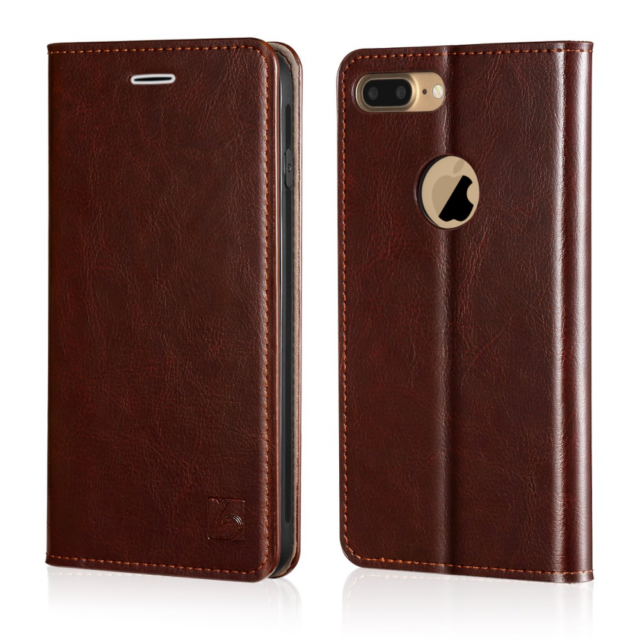 cheaper 891bc c488a Belemay iPhone 8 Plus Wallet Case, Genuine Cowhide Leather Flip [Slim Fit]  Folio