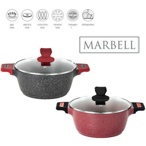 Stockpot Casserole Cooking Pan with Lid Induction Base Marble Effect Non Stick