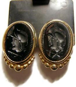 Vintage-BEN-AMUN-Large-Gold-Plated-Black-Intaglio-Roman-Soldier-Clip-Earrings