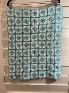 Hand Made Crochet Squares Greenish Blue White Baby Blanket 46cm x 57cm Approx