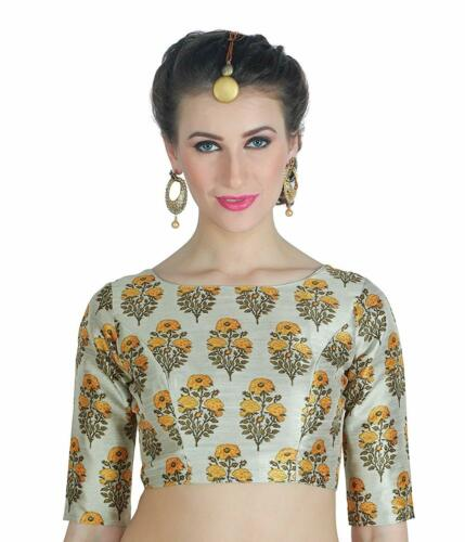 Details about  /Women/'s Saree Blouse Poly Silk Digital Printed 3//4 Sleeve Party Occasion Wear
