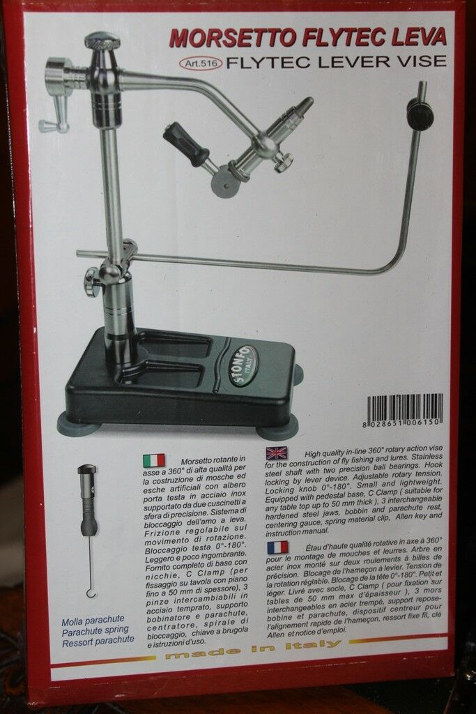 Fly Tying Vice Stonfo Flytec Base Vise  and C Clamp model 3 jaws, parachute