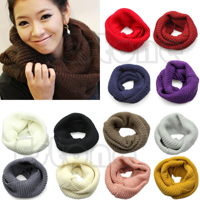 Men Women's Winter Warm Infinity 2 Circle Cable Knit Cowl Neck Long Scarf Shawl