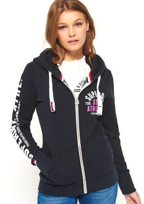 New Superdry Womens Track /& Field Ziphood Eclipse Navy