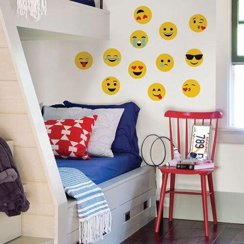 EMOJI Wall ART Decals Cool Kiss Love Crying Goofy Room Decor Stickers Decoration