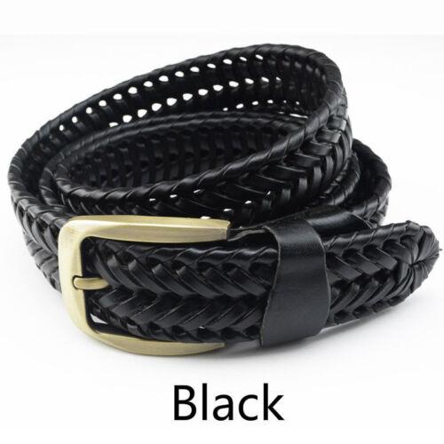 Mens Womens Woven Braided Genuine Leather Waist Belt Waistband 105-125cm