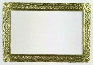 Victorian-Scrap-Die-Cut-German-Dresden-Gold-Paper-Rectangle-Frame-4-034-x-6-034-Craft