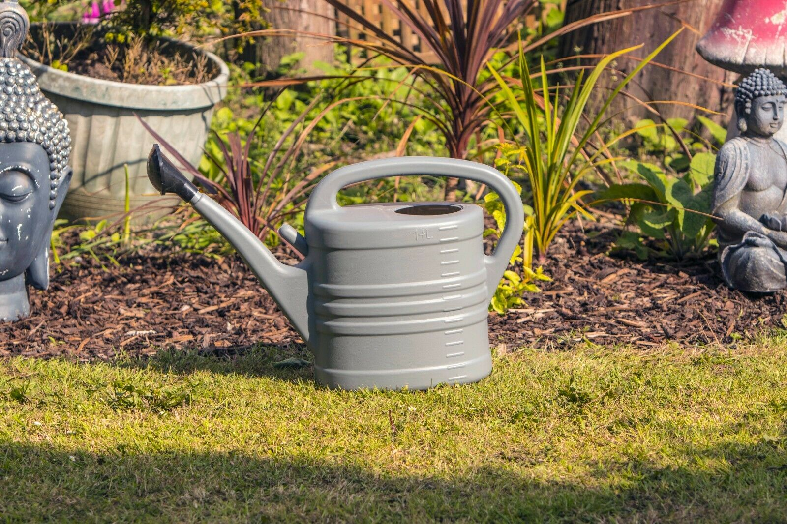 Watering Can With Rose Large - GREY 2.5 Gallons 14L