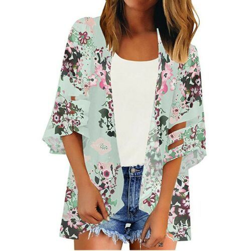Women Mesh Panel 3//4 Bell Sleeve Floral Chiffon Tops Loose Kimono Cardigan New