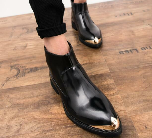 British Mens Steel Toe Casual Slip On Ankle Boots Stylist Dress Formal shoes Sz