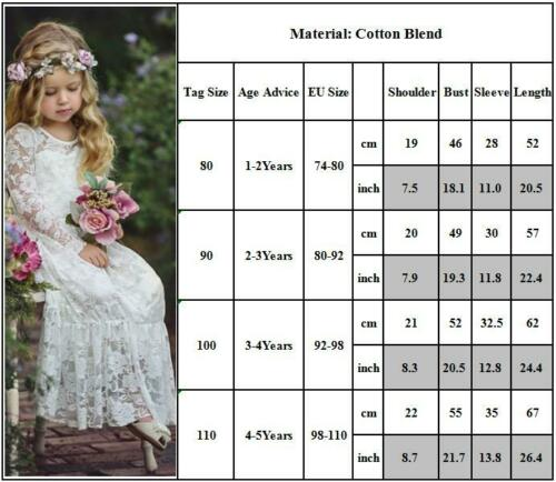Kid Flower Girls Lace Maxi Dress Wedding Bridesmaid Party Pageant Ball Prom Gown
