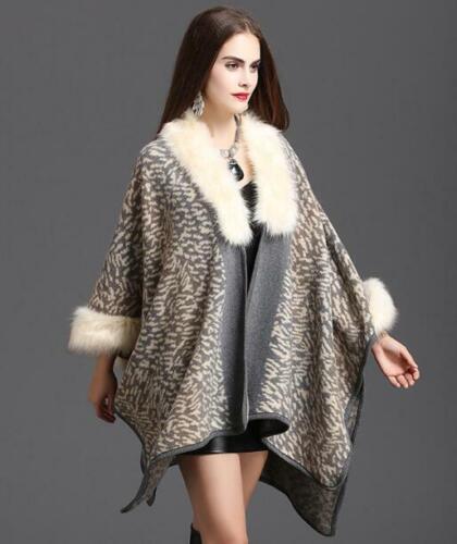 Womens Ladies Faux Fur Leopard Poncho Outwear Asymmetric Loose Cloak Coat C462