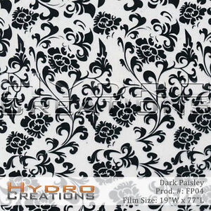Details about HYDROGRAPHIC FILM HYDRO DIPPING WATER TRANSFER FILM FLORAL  PAISLEY PATTERN BLACK