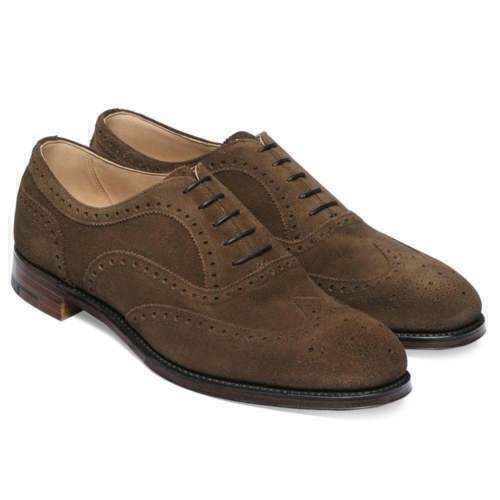 Mens Handmade shoes Brown Suede Oxford Wingtip Lace Up Formal Casual Dress Boots