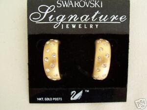 NEW-Swarovski-Gold-Matte-amp-Clear-Crystal-EARRINGS