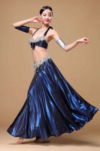 Professional Belly Dancing Vevet Costumes Set Beading 4PCS Bra+skirt+2 arms