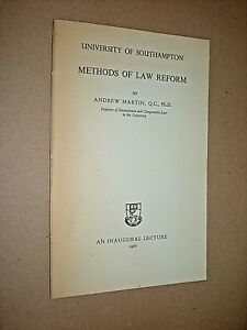 Details about METHODS OF LAW REFORM  ANDREW MARTIN  1967  SOUTHAMPTON  UNIVERSITY LECTURE