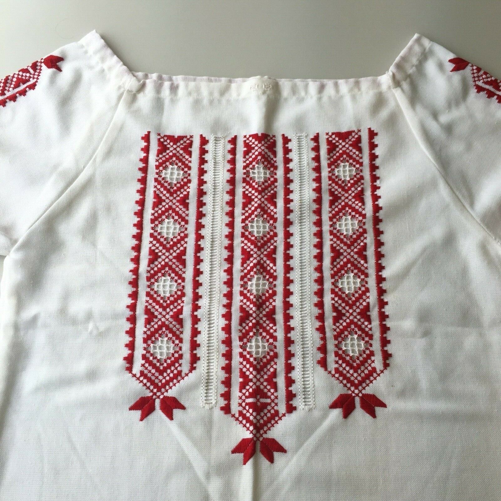 Vintage Hungarian Blouse Embroidered Peasant Top … - image 11