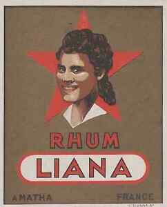 """RHUM LIANA (Matha)"" Etiquette litho originale hbpA6ksK-09120754-368894123"