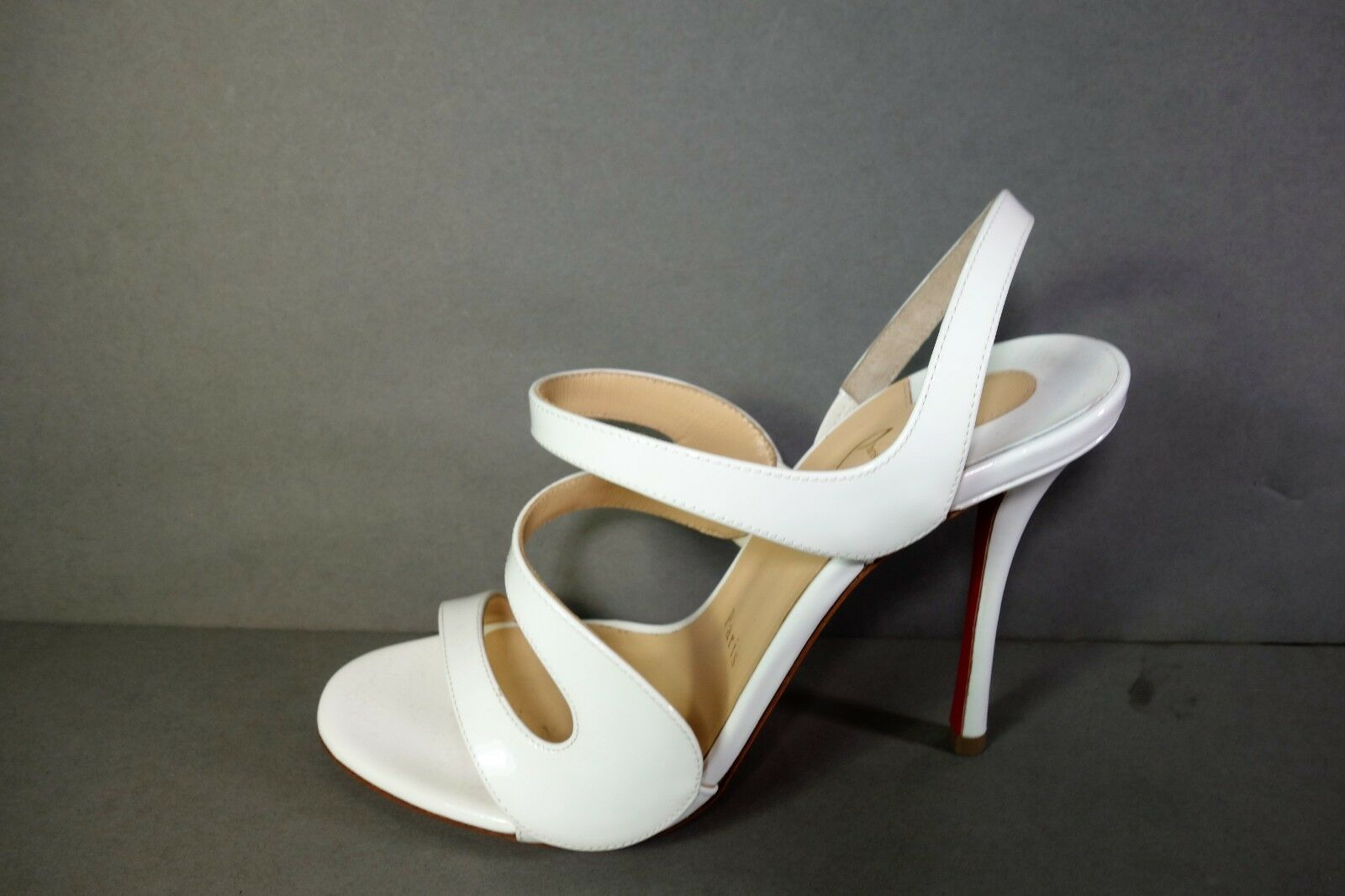 LOUBOUTIN 37 6.5 VAVAZOU 100 White Latte Patent Sandals High High High Heels shoes NEW 2b8db9