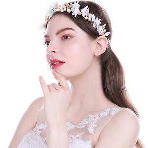 Adjustable-Ladies-Pearl-Flower-Crown-Headband-Shell-Crystal-Tiaras-Conch-Wedding
