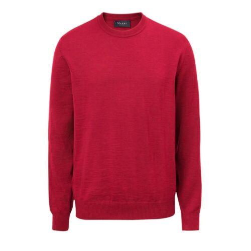 MAERZ Herrenstrick Pullover Rundhals Merino klassisch Superwash 490500-440 rot