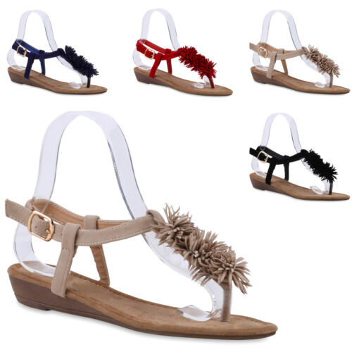 Damen Fransen Sandalen Zehentrenner Keilabsatz Komfort 811509 Trendy Neu