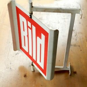 Dreh-Schild-Bild-Zeitung-Windspiel-Wandschild-Kiosk-Eisen-Kunststoff-ca-40x52cm
