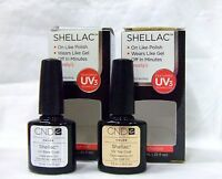 Cnd Shellac Nail Gel Polish Base Coat + Top Coat .25oz/7.3ml 2ct