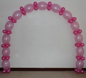 Pink link balloon arch floor decoration helium or air for Balloon arch frame kit party balloons decoration