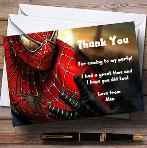 Spiderman Personalised Children S Party Thank You Cards Ebay