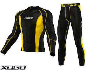 Y-nuevo-para-hombre-de-Compresion-Armour-Capa-Base-Top-Piel-Ajuste-Camiseta-Leggings-Set