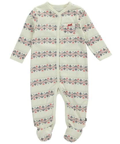 """0-3M Nautica Infant Baby Girl/'s /""""Fair Isle Anchor/"""" Footed Coverall Sleeper"""